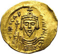 Ancients:Byzantine, Ancients: Phocas. A.D. 602-610. AV solidus (22 mm, 4.44 g).Constantinople, A.D. 607-610. Crowned facing bust, holding cross /Angel s...