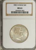 Coins of Hawaii: , 1883 50C Hawaii Half Dollar MS63 NGC. Lustrous with delicate goldenaccents that are a bit more noticeable on the reverse. ...