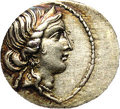 Ancient Lots: , Ancient Lots: Julius Caesar. 47-46 B.C. AR denarius (20 mm).Uncertain mint in Africa. Diademed head of Venus right / Aeneasadvancing lef...