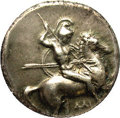 Ancients:Greek, Ancients: Calabria, Taras. Ca. 302-290 B.C. AR nomos (18 mm).Helmeted, nude warrior on horse prancing right, thrusting lance andhold...