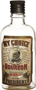 """Political:3D & Other Display (1896-present), William McKinley: """"My Choice"""" Paper Label Whiskey Flask...."""