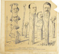 Political:Posters & Broadsides (1896-present), 1908 Presidential Candidates: Exceptional, Large Original Artwork for a Signed Cartoon by Philadelphia Inquirer Cartoonist Fre...