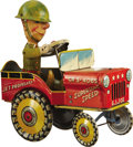 Antiques:Toys, G.I. Joe and His Jouncing Jeep Mechanical Tin Toy by Unique Art Mfg. Co., Inc....