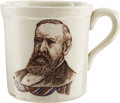 Political:3D & Other Display (pre-1896), Harrison & Morton: Rare Portrait Ironstone Mug....