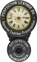 Advertising:Signs, Perfection Leather Oil Baird Advertising Clock....
