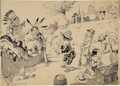 Mainstream Illustration, LOUIS M. GLACKENS (American 1866 - 1933). Trading with theIndians, circa 1901. Pencil and ink on paper. 17 x 21 in..Si...