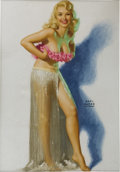 Pin-up and Glamour Art, EARL MORAN (American 1893 - 1984). Blonde Dancer, pinupdrawing. Pastel on board. 26 x 18 in.. Signed lower right. ...