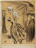 Pin-up and Glamour Art, BILL WARD (American 1919 - 1998). Men's magazine cartoon.Mixed-media. 23 x 17 in.. Signed lower left. ...