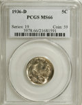 Buffalo Nickels: , 1936-D 5C MS66 PCGS. PCGS Population (629/59). NGC Census: (591/9).Mintage: 24,814,000. Numismedia Wsl. Price for NGC/PCGS...