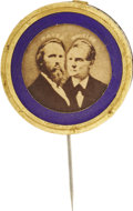 Political:Ferrotypes / Photo Badges (pre-1896), Hayes & Wheeler: 1876 Photographic Picture Pin....