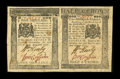 Colonial Notes:Pennsylvania, Pennsylvania April 25, 1776 Uncut Horizontal Pair 1s, 2s6dExtremely Fine....