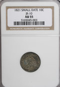 Bust Dimes, 1821 10C Small Date AU55 NGC....
