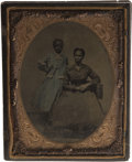 Military & Patriotic:Civil War, Beautiful Hand-tinted Half Plate Tintype Featuring a Well-Dressed African-American Mother and Daughter....