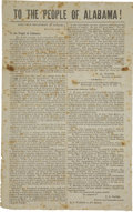 """Military & Patriotic:Civil War, """"To the People of Alabama!"""" General Orders No. 9, 1864 Broadside. One page, 9"""" x 14.5"""", printed document, Montgomery, March ..."""