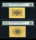 Fractional Currency:First Issue, Fr. 1231SP 5¢ First Issue Wide Margin Pair PMG Gem Uncirculated 66 EPQ. ... (Total: 2 notes)