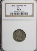Early Dimes, 1805 10C 4 Berries AG3 NGC. JR-2. NGC Census: (9/225). PCGSPopulation (11/288). Mintage: 120,780. Numismedia Wsl. Price fo...