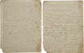 Autographs:Military Figures, [Mexican War] Preparation for the Battle of Monterey - A Mexican Officer's Letter. ... (Total: 2 Items)