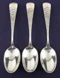 Silver Flatware, American:Dominick & Haff, A SET OF THREE AMERICAN SILVER TEA SPOONS. Dominick & Haff, NewYork, New York, circa 1880. Marks: (oval-circle-diamond), ...(Total: 3 Items)