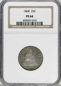 Proof Seated Quarters, 1868 25C PR64 NGC....