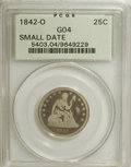 Seated Quarters, 1842-O 25C Small Date Good 4 PCGS....