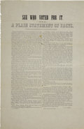 "Miscellaneous:Ephemera, R. Plummer, ""See Who Voted For It. A Plain Statement ofFacts."" Broadside. ..."