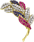 Estate Jewelry:Brooches - Pins, Diamond, Ruby, Sapphire, Gold Brooch, Varoukis. ...