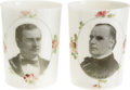 Political:3D & Other Display (1896-present), William Jennings Bryan and William McKinley: Beautiful Pair of Milk Glass Tumblers. ... (Total: 2 Items)