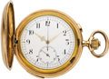 Timepieces:Pocket (pre 1900) , Invicta Gold Quarter Hour Repeater with Chronograph, circa 1896. ...