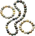 Estate Jewelry:Suites, Multi-Color South Sea Cultured Pearl, Diamond, Gold Jewelry Suite,Etienne Perret. ... (Total: 3 Items)
