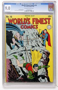 World's Finest Comics #16 (DC, 1944) CGC VF/NM 9.0 Off-white to white pages