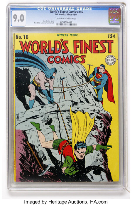 World's Finest Comics #16 (DC, 1944) CGC VF/NM 9.0 Off-white to white pages....