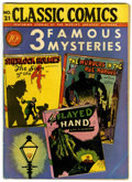 Golden Age (1938-1955):Classics Illustrated, Classic Comics #21 - 3 Famous Mysteries - Original Edition (Gilberton, 1944) Condition: Apparent VG....