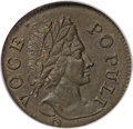 Colonials, 1760 1/2P Hibernia-Voce Populi Halfpenny, P Below Bust MS64 BrownPCGS....