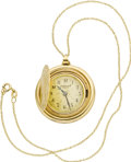 Timepieces:Pocket (post 1900), Cartier $10 Gold Coin, Gold Pendant Watch, circa 1950. ...