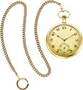 Timepieces:Pocket (post 1900), Ulysse Nardin Gold Watch & Chain, circa 1915. ...