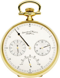 International Watch Co. Gold Pocket Watch Thermometer Dial, circa 1983