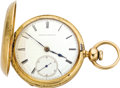 Timepieces:Pocket (pre 1900) , Waltham Gold Appleton Tracy Hunters Case Watch, circa 1864. ...