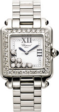 "Timepieces:Wristwatch, Chopard Lady's Diamond, Stainless Steel ""Happy Sport"" Wristwatch,modern. ..."