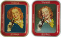 "Advertising:Trays, Coca-Cola 1950s ""Girl with a Bottle"" Tray and Variant Pair.... (Total: 2 Items)"