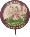 Political:Pinback Buttons (1896-present), [Woman's Suffrage] Rare Small Version Clarion Pin....