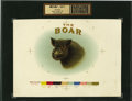 Antique Stone Lithography:Cigar Label Art, The Boar Cigar Inner Label Proof,...