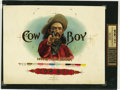 Antique Stone Lithography:Cigar Label Art, Cow Boy Cigar Inner Label Proof,...