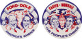 Political:Pinback Buttons (1896-present), Carter and Ford: Marvelous Pair of Rare Caricature Buttons.... (Total: 2 Items)