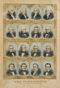 Political:Posters & Broadsides (pre-1896), Abraham Lincoln: Scarce Currier & Ives Print Of The Presidents Up Through a Beardless Lincoln....