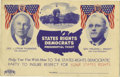 Political:Small Paper (1896-present), Thurmond & Wright: Rarer Variety of 1948 Campaign Postcard....