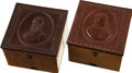 Political:3D & Other Display (pre-1896), Hancock & English: Matching Collar Boxes with Portraits in Gutta Percha.... (Total: 2 Items)