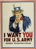 Antiques:Posters & Prints, Poster: I Want You! by James Montgomery Flagg....