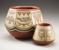 American Indian Art:Pottery, TWO SANTA CLARA POLYCHROME JARS. Margaret and Luther Gutierrez. c.1970... (Total: 2 Items)