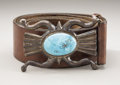 American Indian Art:Jewelry and Silverwork, A NAVAJO SILVER AND TURQUOISE BELT. Ted Charveze. c. 1950...