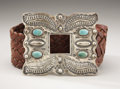 American Indian Art:Jewelry and Silverwork, A NAVAJO SILVER AND TURQUOISE BELT. c. 1915...